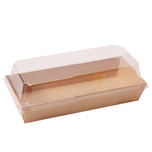 Paper box with plastic lid